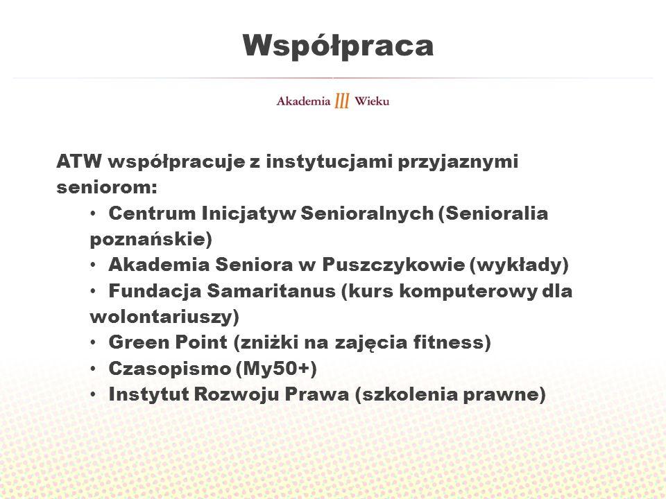 Współpraca ATW współpracuje z instytucjami przyjaznymi seniorom: Centrum Inicjatyw Senioralnych (Senioralia poznańskie) Akademia Seniora w Puszczykowi