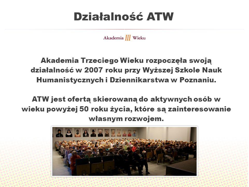 Działalność ATW Akademia Trzeciego Wieku rozpoczęła swoją działalność w 2007 roku przy Wyższej Szkole Nauk Humanistycznych i Dziennikarstwa w Poznaniu