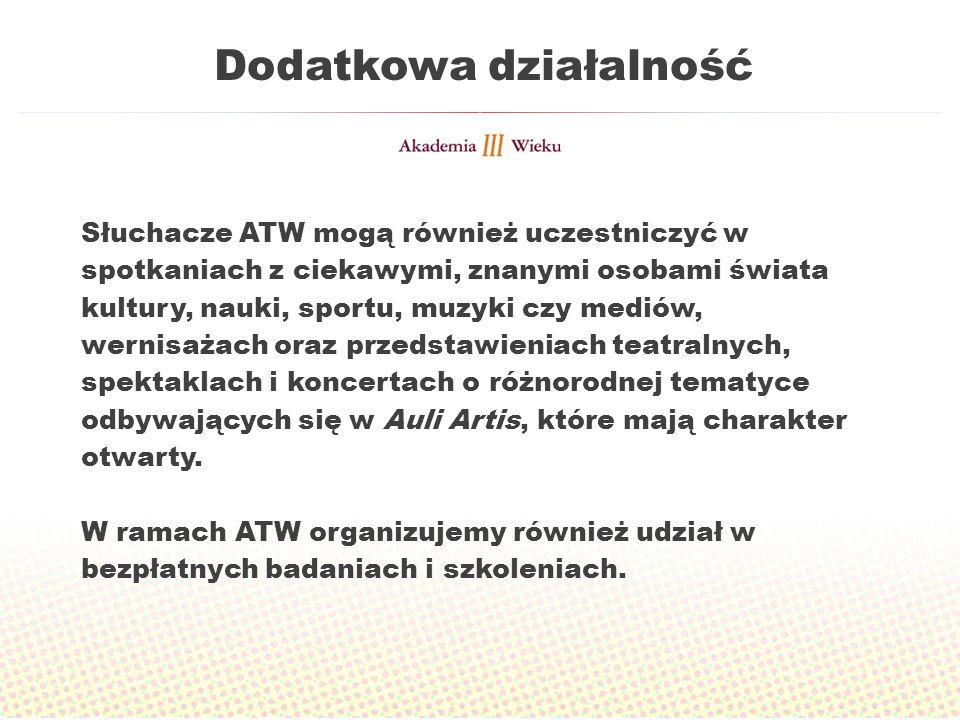 Dodatkowa działalność Słuchacze ATW mogą również uczestniczyć w spotkaniach z ciekawymi, znanymi osobami świata kultury, nauki, sportu, muzyki czy med