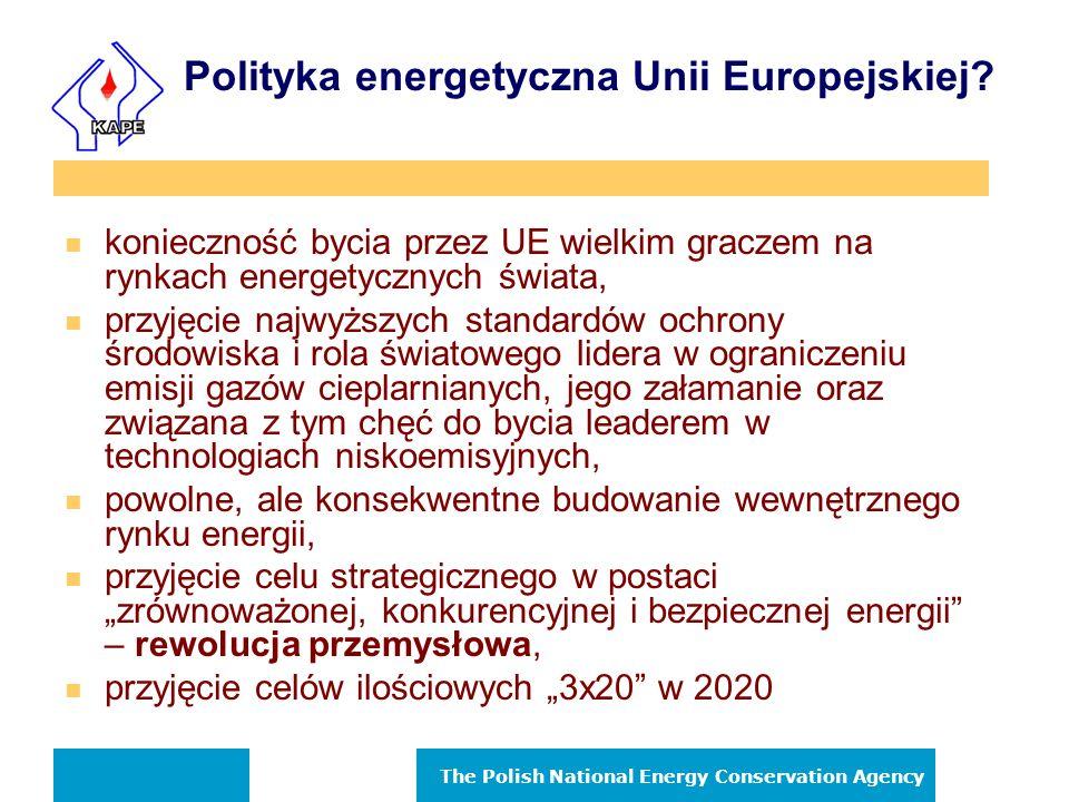The Polish National Energy Conservation Agency Wydatki na energię w Europie Koszt energii elektrycznej i ciepła * mld Euro Udział w GDP % EU - 15 331 3,5 Nowe kraje członkowskie – NMS10 26 6,0 Nowe kraje kandydackie – ACC4 19 6,2 Kraje EFTA3 15 3,0 Przemysł 120 1,1 Inne sektory 271 2,6 Produkty ropopochodne 68 0,6 Gaz ziemny 82 0,8 Ciepło scentralizowane (DH) 20 0,2 Inne 10 0,1 Elektryczność 212 2.0 Razem 391 3,7