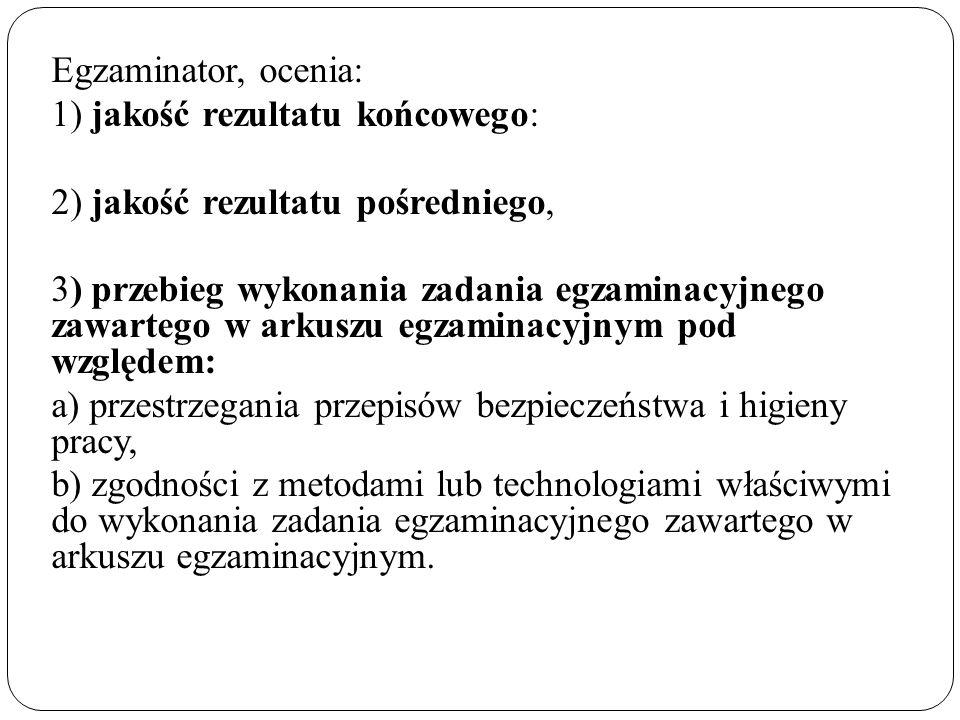 Egzaminator, ocenia: 1) jakość rezultatu końcowego: 2) jakość rezultatu pośredniego, 3) przebieg wykonania zadania egzaminacyjnego zawartego w arkuszu