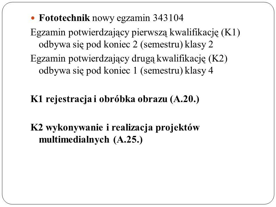 Fototechnik nowy egzamin 343104 Egzamin potwierdzający pierwszą kwalifikację (K1) odbywa się pod koniec 2 (semestru) klasy 2 Egzamin potwierdzający dr