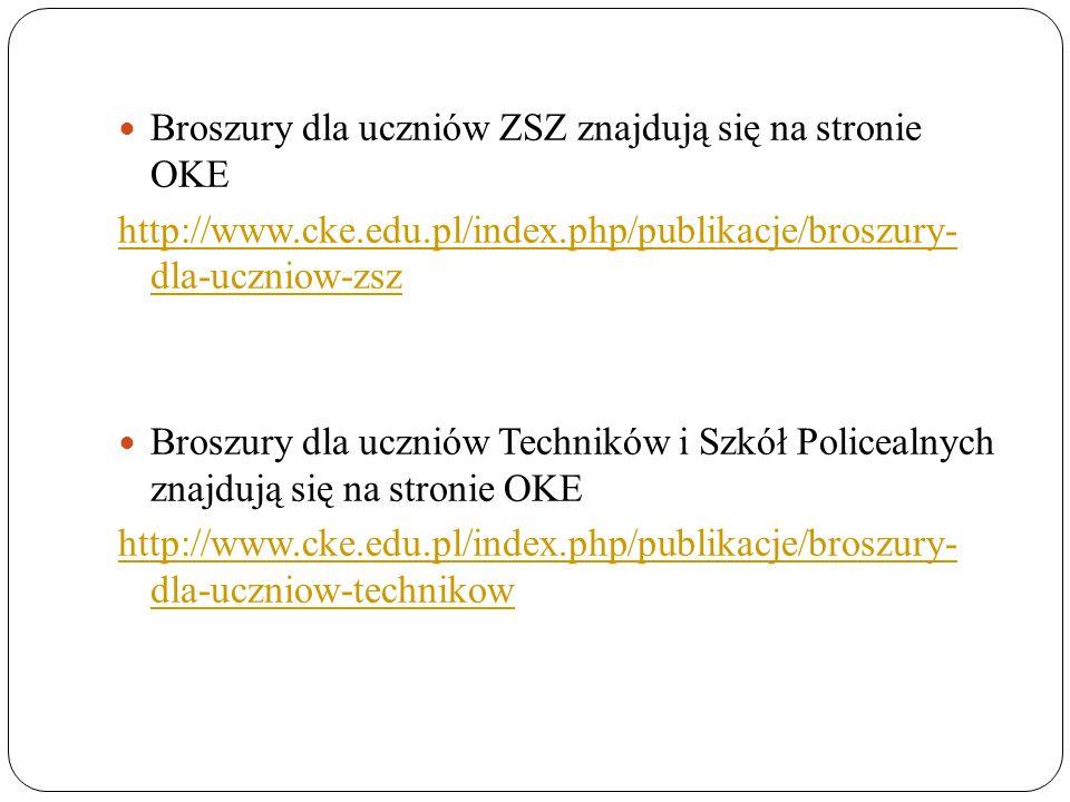 Broszury dla uczniów ZSZ znajdują się na stronie OKE http://www.cke.edu.pl/index.php/publikacje/broszury- dla-uczniow-zsz Broszury dla uczniów Technik