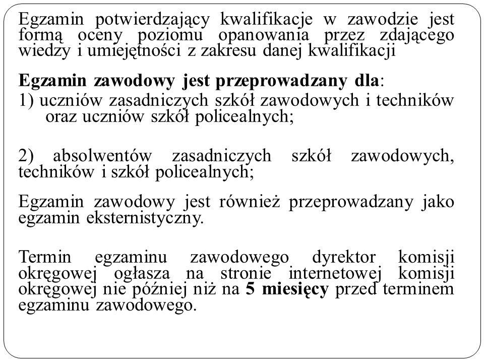 Terminy egzaminu potwierdzającego kwalifikacje w zawodzie Na podstawie §113 ust.
