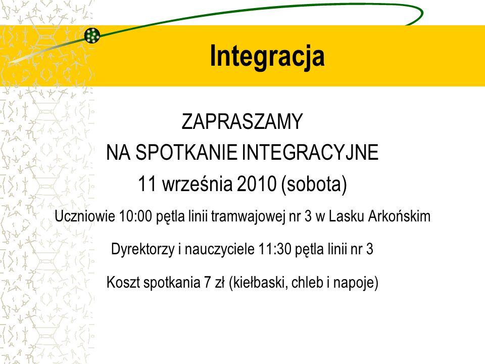 Integracja ZAPRASZAMY NA SPOTKANIE INTEGRACYJNE 11 września 2010 (sobota) Uczniowie 10:00 pętla linii tramwajowej nr 3 w Lasku Arkońskim Dyrektorzy i