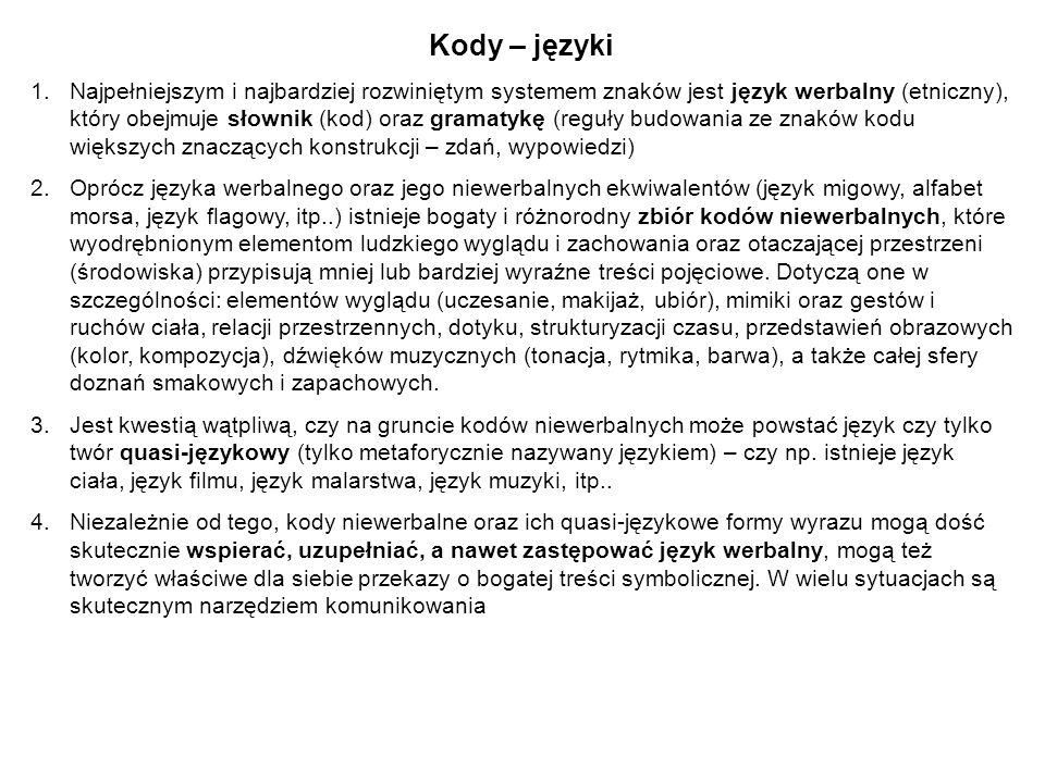 Kody – języki 1.Najpełniejszym i najbardziej rozwiniętym systemem znaków jest język werbalny (etniczny), który obejmuje słownik (kod) oraz gramatykę (