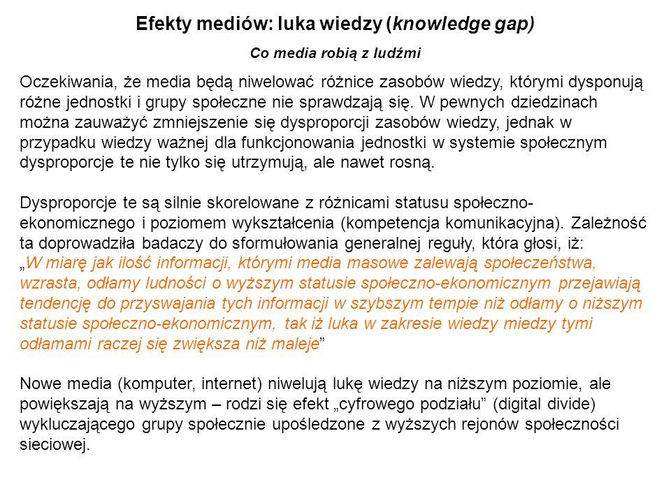 Efekty mediów: luka wiedzy (knowledge gap) Co media robią z ludźmi Oczekiwania, że media będą niwelować różnice zasobów wiedzy, którymi dysponują różn