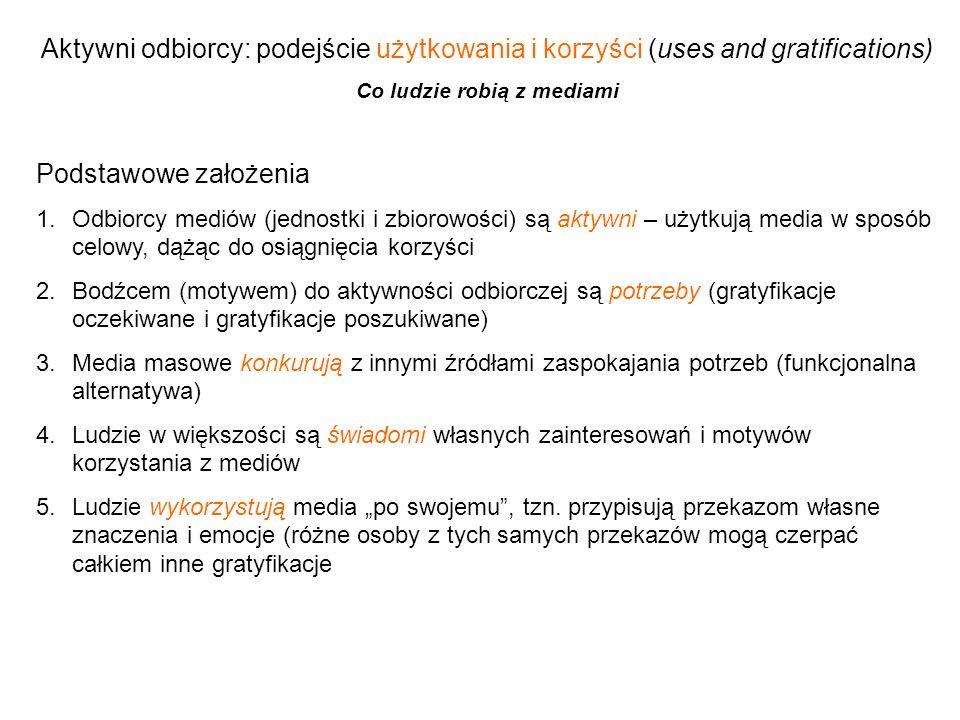 Aktywni odbiorcy: podejście użytkowania i korzyści (uses and gratifications) Co ludzie robią z mediami Podstawowe założenia 1.Odbiorcy mediów (jednost