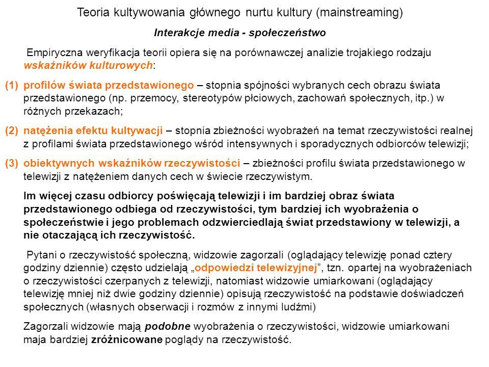 Teoria kultywowania głównego nurtu kultury (mainstreaming) Interakcje media - społeczeństwo Empiryczna weryfikacja teorii opiera się na porównawczej a