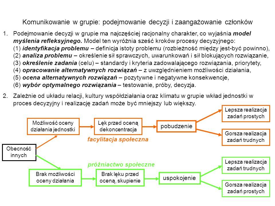 Komunikowanie w grupie: podejmowanie decyzji i zaangażowanie członków 1.Podejmowanie decyzji w grupie ma najczęściej racjonalny charakter, co wyjaśnia