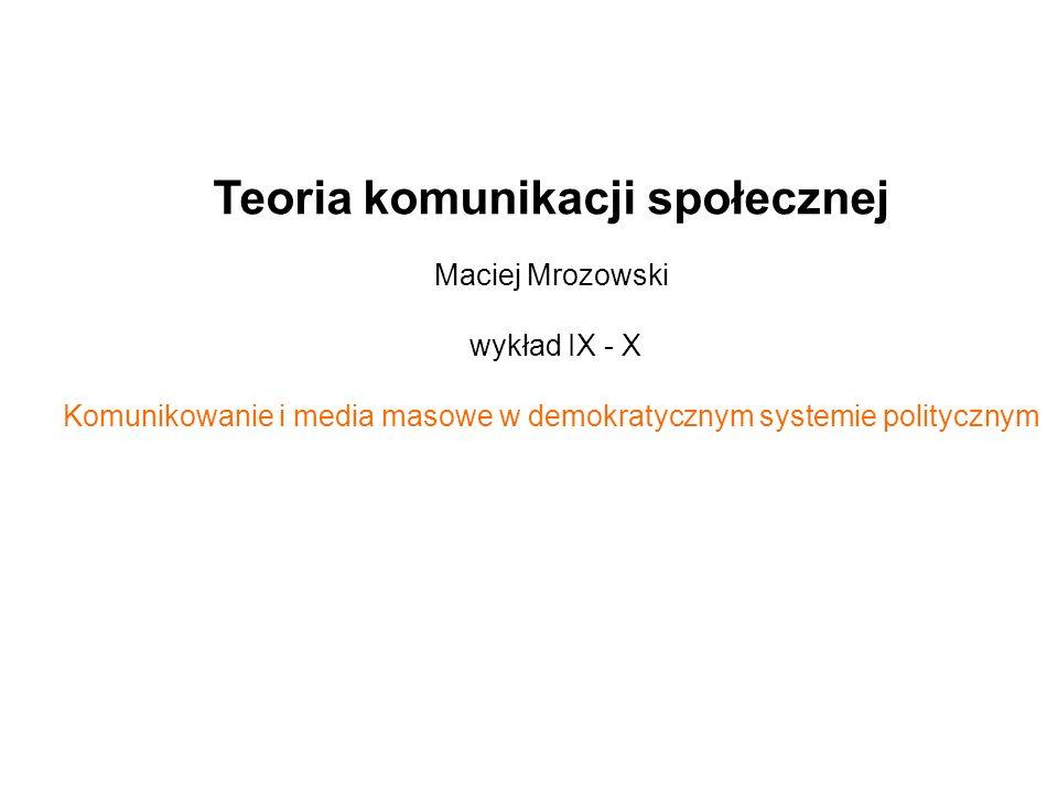 Teoria komunikacji społecznej Maciej Mrozowski wykład IX - X Komunikowanie i media masowe w demokratycznym systemie politycznym