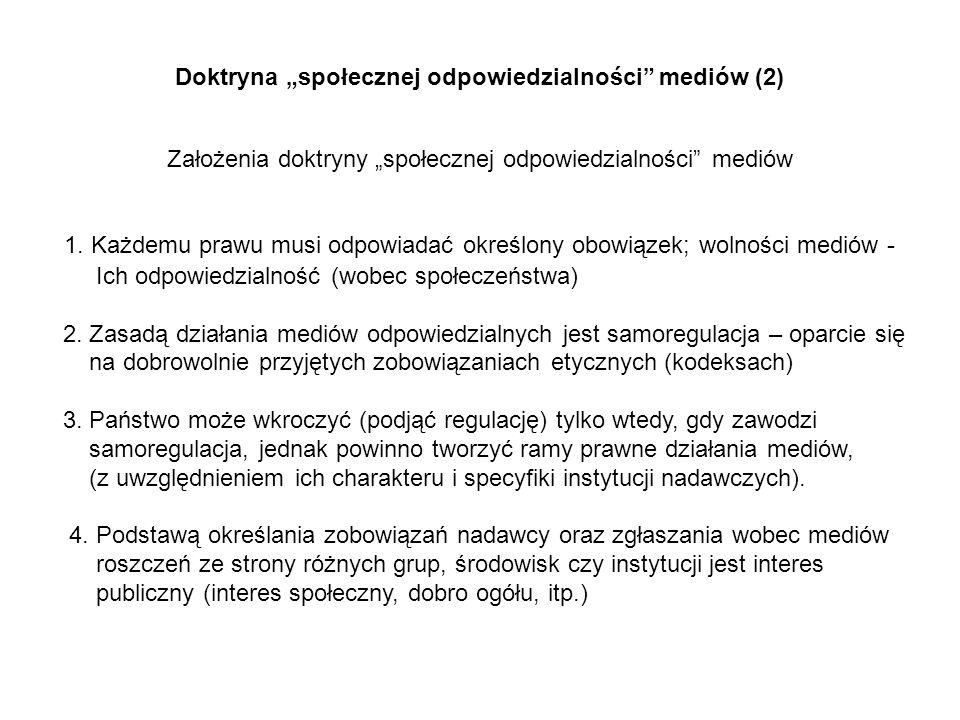 Doktryna społecznej odpowiedzialności mediów (2) Założenia doktryny społecznej odpowiedzialności mediów 1. Każdemu prawu musi odpowiadać określony obo