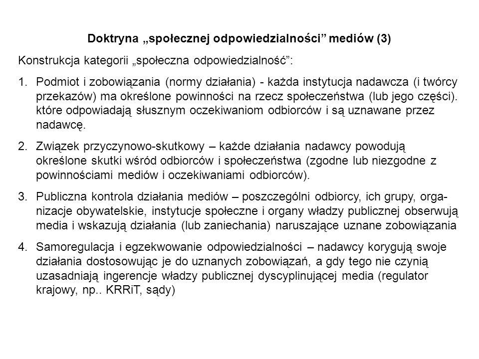 Doktryna społecznej odpowiedzialności mediów (3) Konstrukcja kategorii społeczna odpowiedzialność: 1.Podmiot i zobowiązania (normy działania) - każda