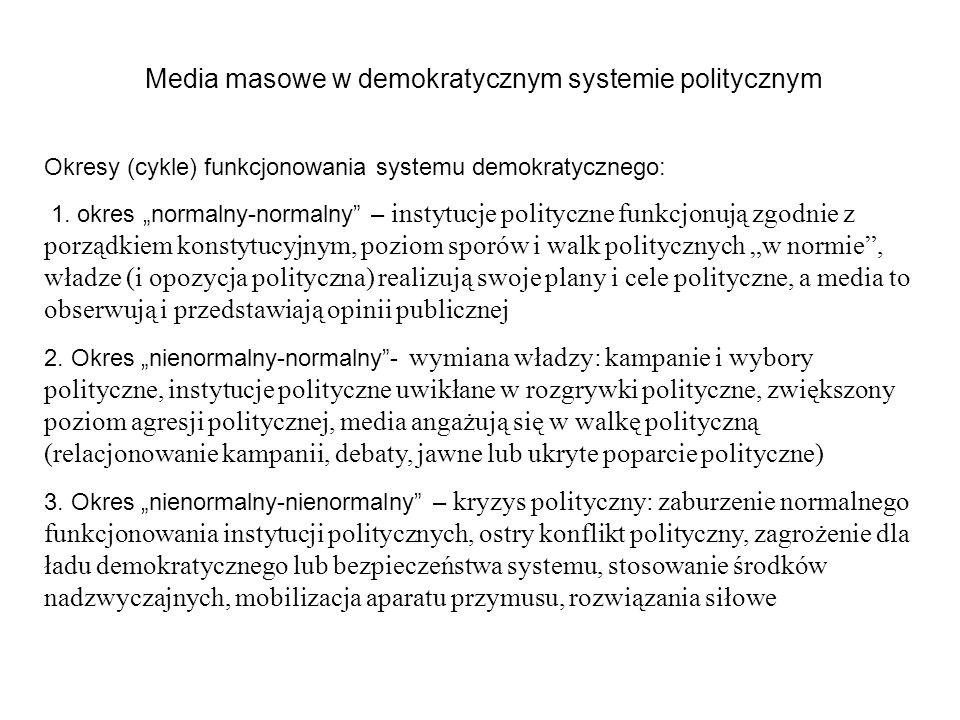 Media masowe w demokratycznym systemie politycznym Okresy (cykle) funkcjonowania systemu demokratycznego: 1. okres normalny-normalny – instytucje poli