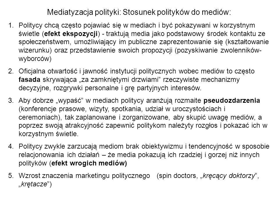 Mediatyzacja polityki: Stosunek polityków do mediów: 1.Politycy chcą często pojawiać się w mediach i być pokazywani w korzystnym świetle (efekt ekspoz