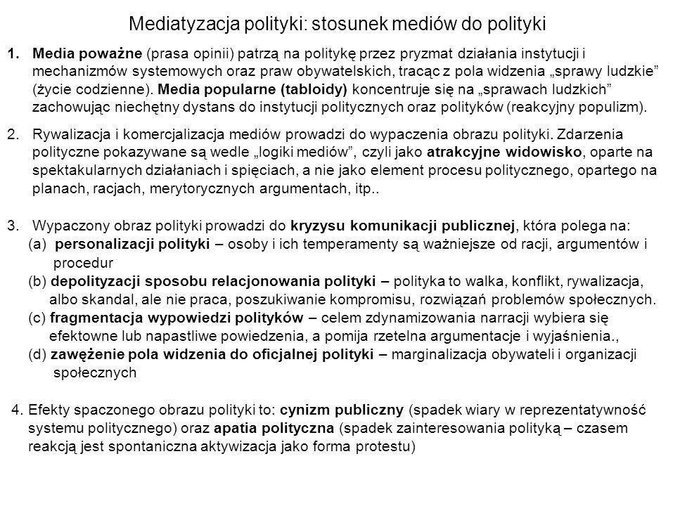 Mediatyzacja polityki: stosunek mediów do polityki 1.Media poważne (prasa opinii) patrzą na politykę przez pryzmat działania instytucji i mechanizmów