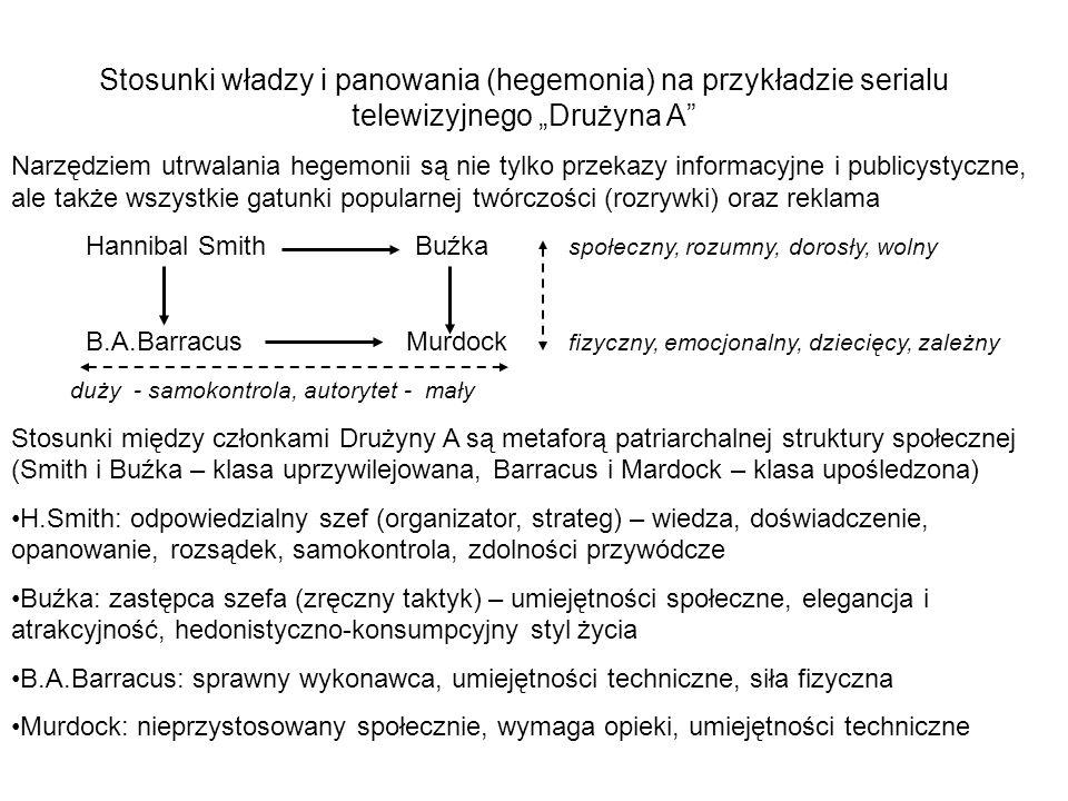 Stosunki władzy i panowania (hegemonia) na przykładzie serialu telewizyjnego Drużyna A Narzędziem utrwalania hegemonii są nie tylko przekazy informacy