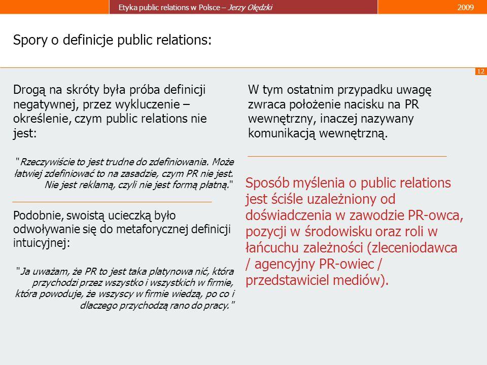 12 Etyka public relations w Polsce – Jerzy Olędzki2009 Spory o definicje public relations: Drogą na skróty była próba definicji negatywnej, przez wykl