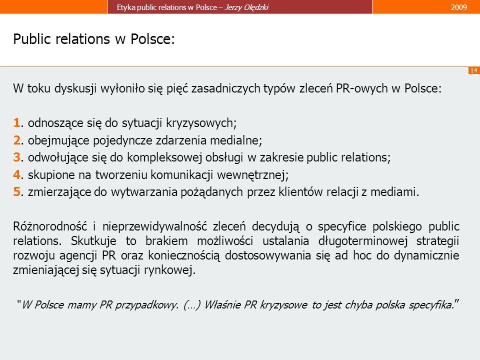 14 Etyka public relations w Polsce – Jerzy Olędzki2009 Public relations w Polsce: W toku dyskusji wyłoniło się pięć zasadniczych typów zleceń PR-owych
