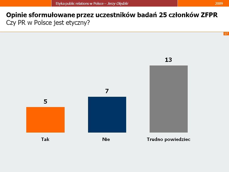17 Etyka public relations w Polsce – Jerzy Olędzki2009 Opinie sformułowane przez uczestników badań 25 członków ZFPR Czy PR w Polsce jest etyczny?