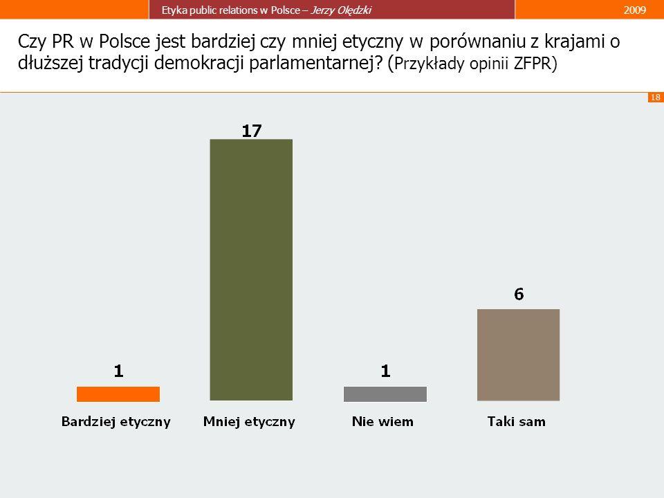 18 Etyka public relations w Polsce – Jerzy Olędzki2009 Czy PR w Polsce jest bardziej czy mniej etyczny w porównaniu z krajami o dłuższej tradycji demo