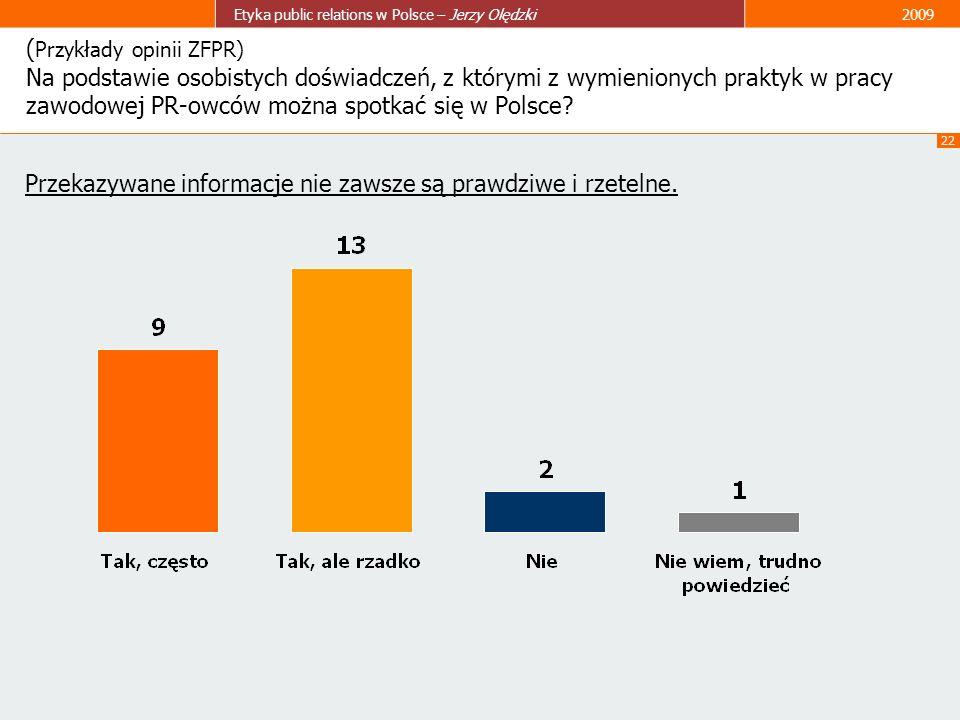 22 Etyka public relations w Polsce – Jerzy Olędzki2009 ( Przykłady opinii ZFPR) Na podstawie osobistych doświadczeń, z którymi z wymienionych praktyk