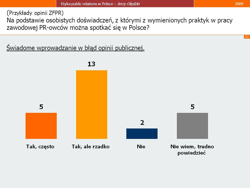 23 Etyka public relations w Polsce – Jerzy Olędzki2009 ( Przykłady opinii ZFPR) Na podstawie osobistych doświadczeń, z którymi z wymienionych praktyk