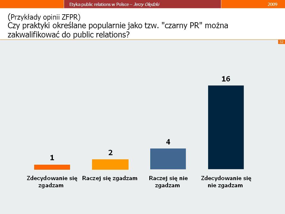 32 Etyka public relations w Polsce – Jerzy Olędzki2009 ( Przykłady opinii ZFPR) Czy praktyki określane popularnie jako tzw.