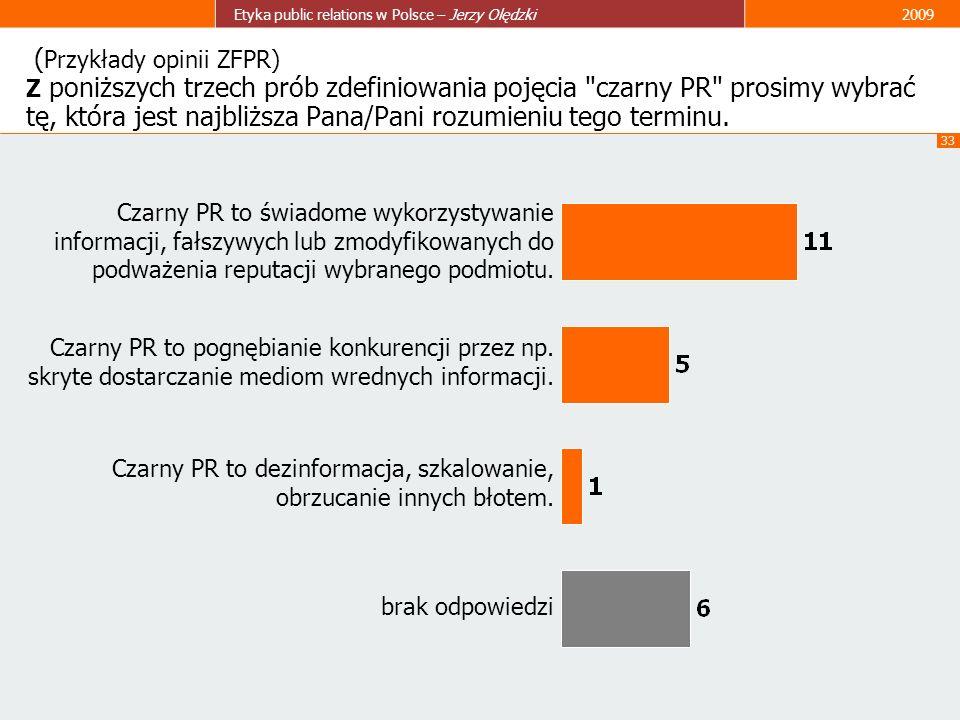 33 Etyka public relations w Polsce – Jerzy Olędzki2009 ( Przykłady opinii ZFPR) Z poniższych trzech prób zdefiniowania pojęcia