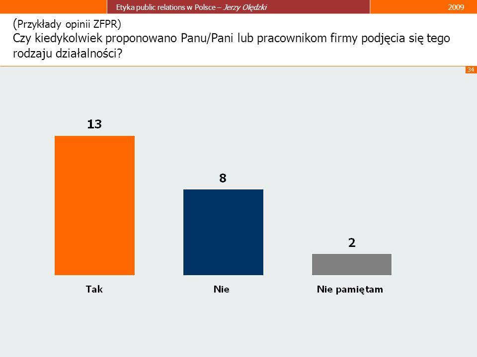 34 Etyka public relations w Polsce – Jerzy Olędzki2009 ( Przykłady opinii ZFPR) Czy kiedykolwiek proponowano Panu/Pani lub pracownikom firmy podjęcia