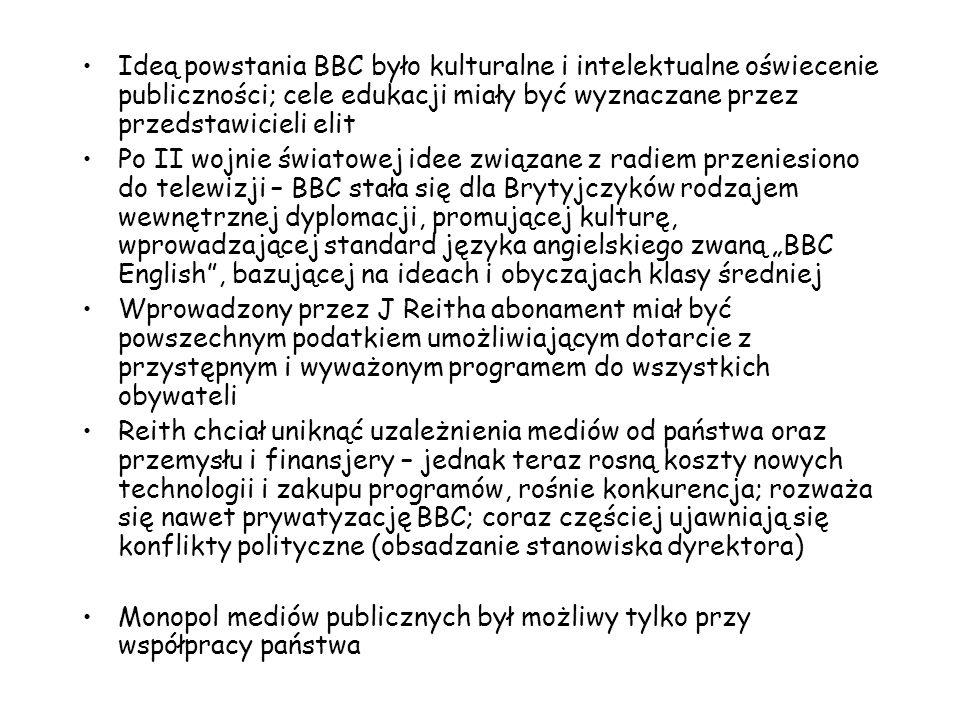 Rządy brytyjskie określały i określają ramy, w jakich działa BBC, sposób finansowania, liczbę nadawanych kanałów, uwarunkowania techniczne; mają także prawo weta wobec programów telewizyjnych Na strukturę zarządzania składa się Rada Gubernatorów, której 12 członków (z różnych organizacji, instytucji, partii), powołuje królowa (symbolizuje niezależność) i jej Rada na wniosek premiera; kadencja trwa 5 lat Rada Królewska składa się zaś z polityków reprezentujących różne partie polityczne Rada Gubernatorów współpracuje z Radą Dyrektorów (organ zarządzający) oraz z Ogólną Radą Doradczą (podobne rady również na poziomie regionalnym) Wybór Partii Pracy w 1997 r.