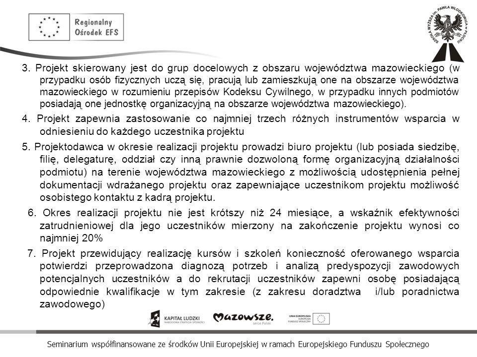 Seminarium współfinansowane ze środków Unii Europejskiej w ramach Europejskiego Funduszu Społecznego 3. Projekt skierowany jest do grup docelowych z o