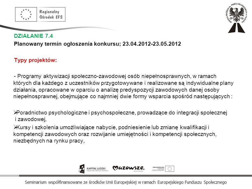Seminarium współfinansowane ze środków Unii Europejskiej w ramach Europejskiego Funduszu Społecznego DZIAŁANIE 7.4 Planowany termin ogłoszenia konkurs