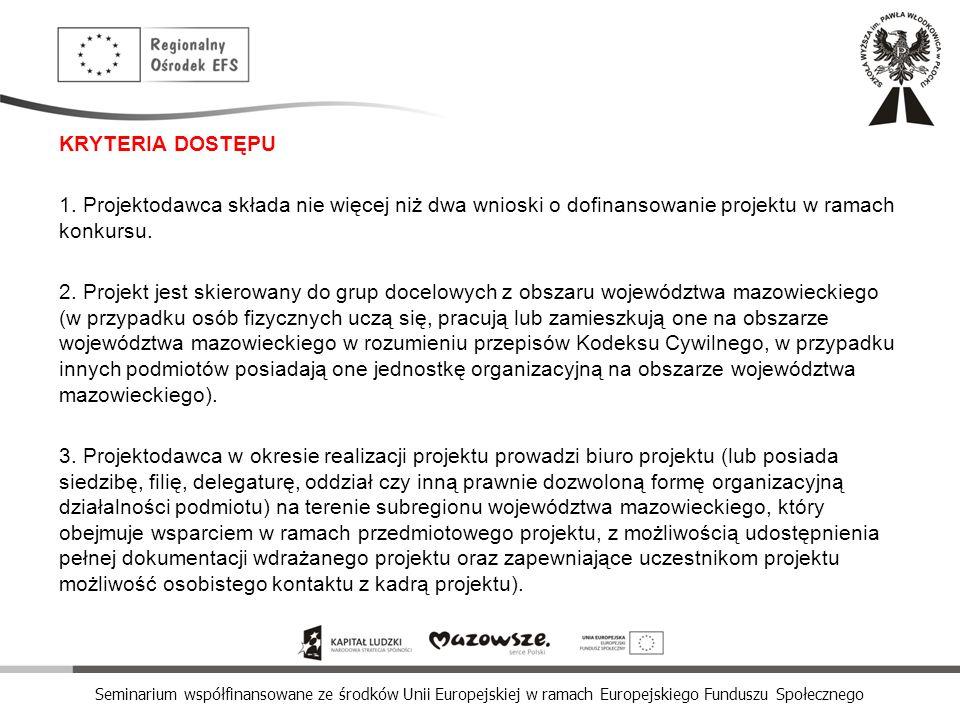 Seminarium współfinansowane ze środków Unii Europejskiej w ramach Europejskiego Funduszu Społecznego KRYTERIA DOSTĘPU 1. Projektodawca składa nie więc