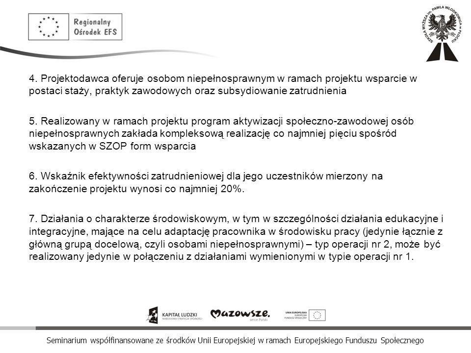 Seminarium współfinansowane ze środków Unii Europejskiej w ramach Europejskiego Funduszu Społecznego 4. Projektodawca oferuje osobom niepełnosprawnym