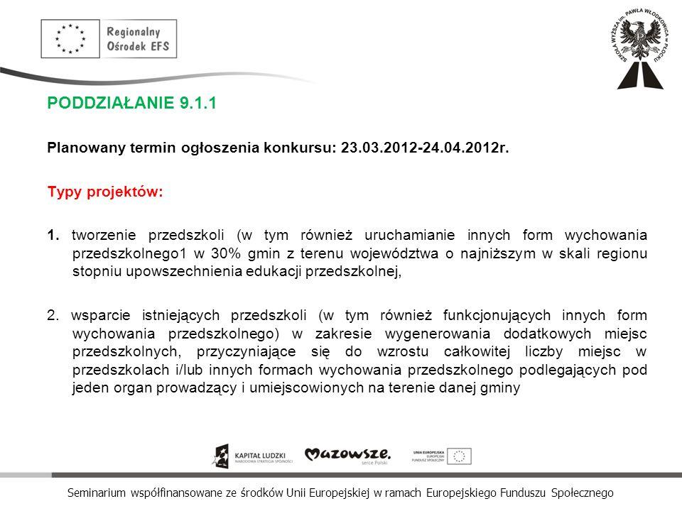 Seminarium współfinansowane ze środków Unii Europejskiej w ramach Europejskiego Funduszu Społecznego PODDZIAŁANIE 9.1.1 Planowany termin ogłoszenia ko