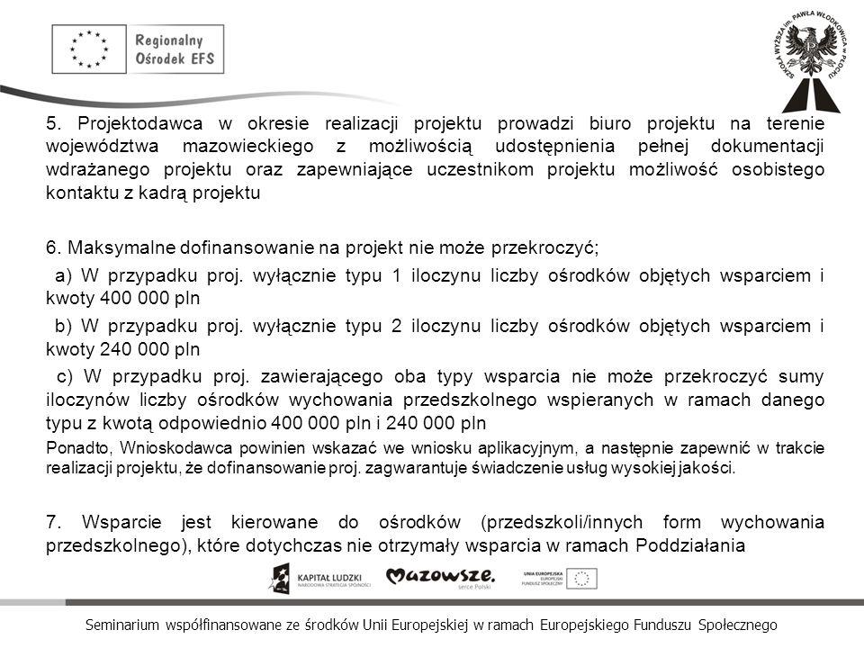 Seminarium współfinansowane ze środków Unii Europejskiej w ramach Europejskiego Funduszu Społecznego 5. Projektodawca w okresie realizacji projektu pr