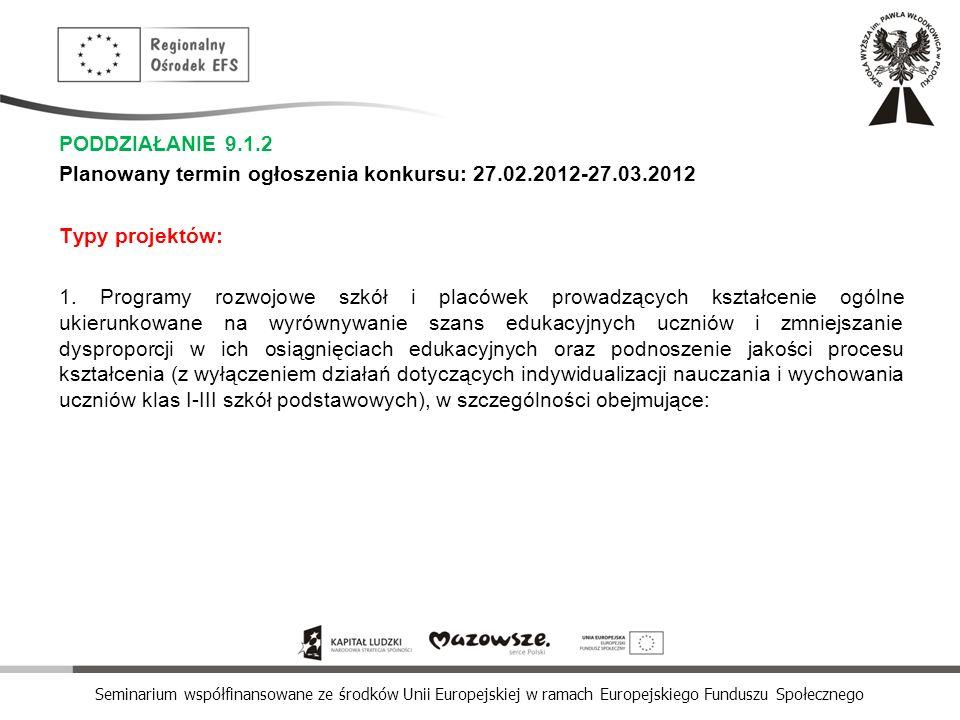 Seminarium współfinansowane ze środków Unii Europejskiej w ramach Europejskiego Funduszu Społecznego PODDZIAŁANIE 9.1.2 Planowany termin ogłoszenia ko