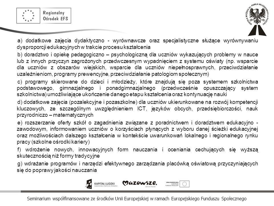 Seminarium współfinansowane ze środków Unii Europejskiej w ramach Europejskiego Funduszu Społecznego a) dodatkowe zajęcia dydaktyczno - wyrównawcze or