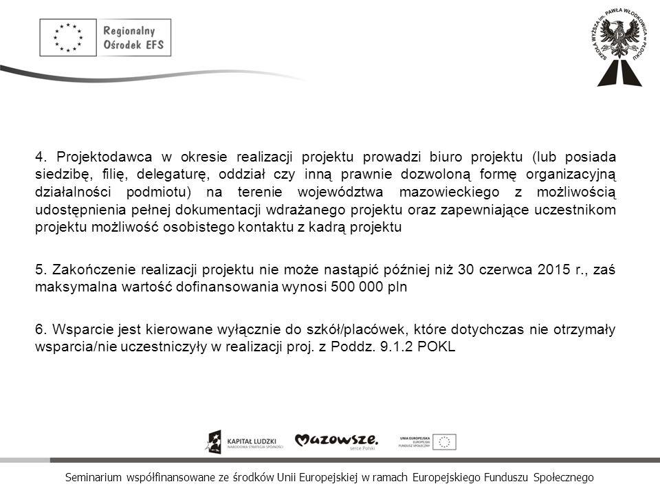 Seminarium współfinansowane ze środków Unii Europejskiej w ramach Europejskiego Funduszu Społecznego 4. Projektodawca w okresie realizacji projektu pr