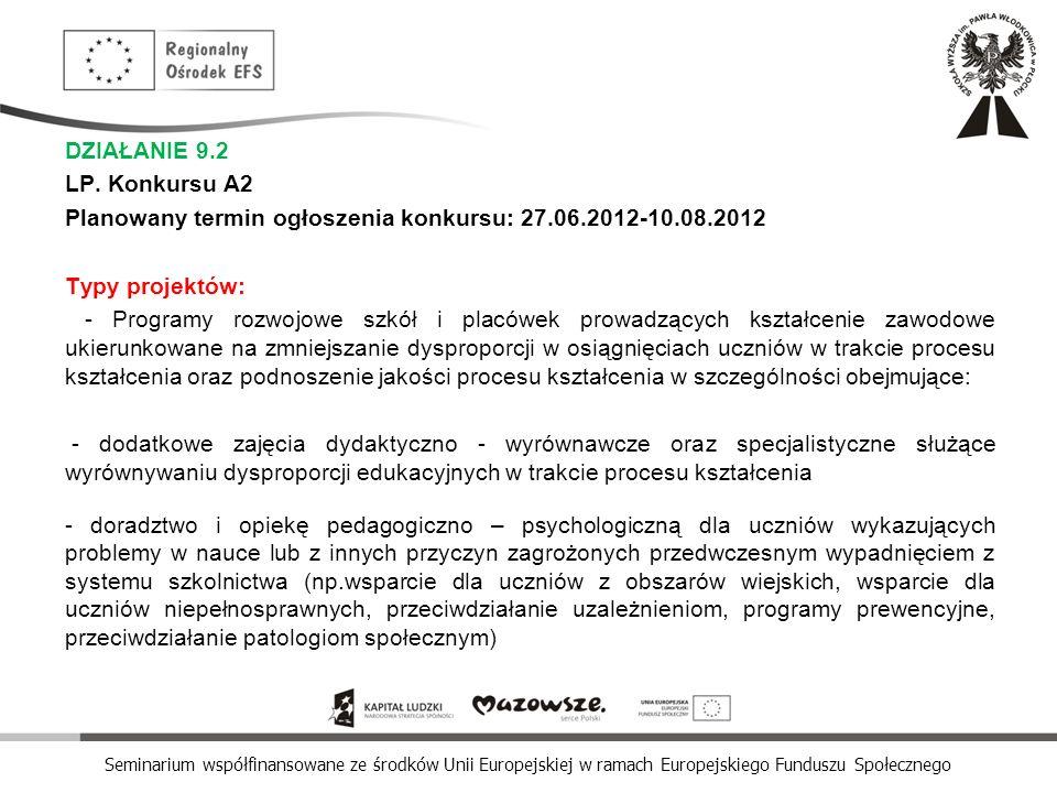 Seminarium współfinansowane ze środków Unii Europejskiej w ramach Europejskiego Funduszu Społecznego DZIAŁANIE 9.2 LP. Konkursu A2 Planowany termin og