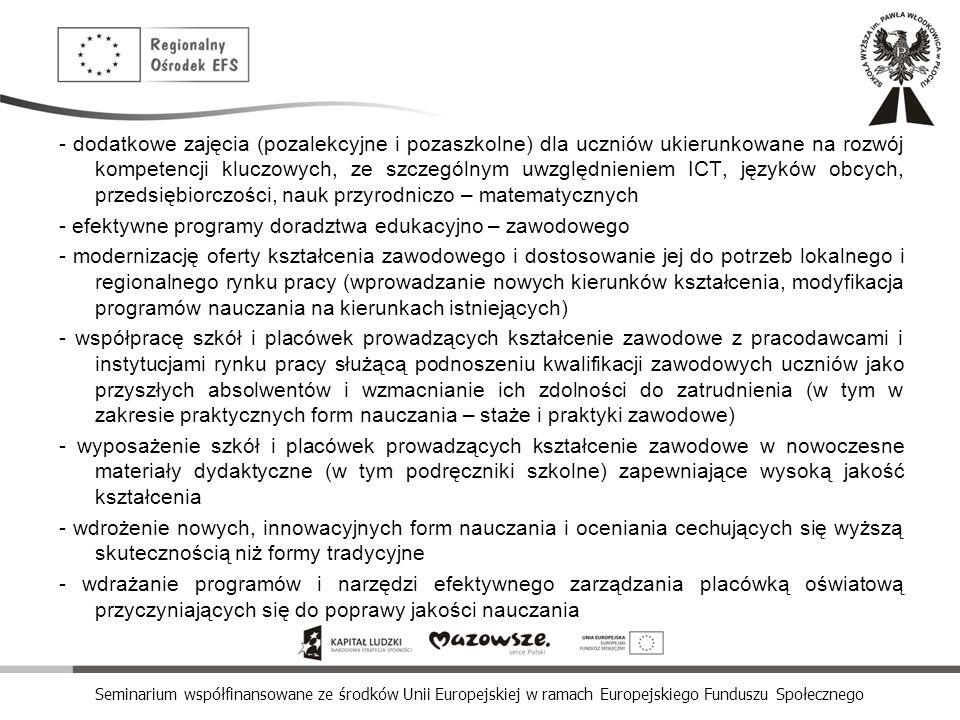 Seminarium współfinansowane ze środków Unii Europejskiej w ramach Europejskiego Funduszu Społecznego - dodatkowe zajęcia (pozalekcyjne i pozaszkolne)