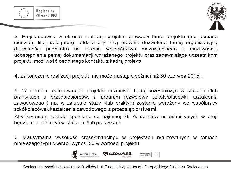 Seminarium współfinansowane ze środków Unii Europejskiej w ramach Europejskiego Funduszu Społecznego 3. Projektodawca w okresie realizacji projektu pr