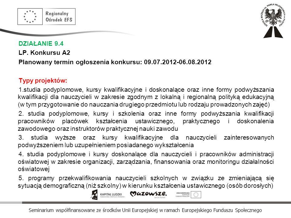 Seminarium współfinansowane ze środków Unii Europejskiej w ramach Europejskiego Funduszu Społecznego DZIAŁANIE 9.4 LP. Konkursu A2 Planowany termin og