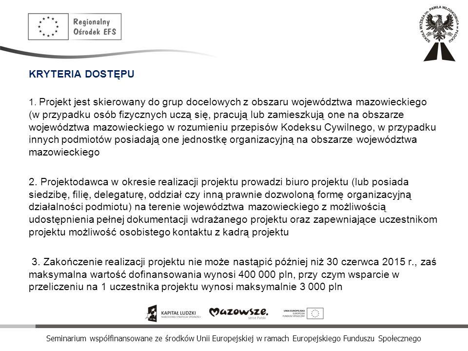 Seminarium współfinansowane ze środków Unii Europejskiej w ramach Europejskiego Funduszu Społecznego KRYTERIA DOSTĘPU 1. Projekt jest skierowany do gr