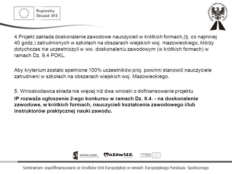 Seminarium współfinansowane ze środków Unii Europejskiej w ramach Europejskiego Funduszu Społecznego 4.Projekt zakłada doskonalenie zawodowe nauczycie