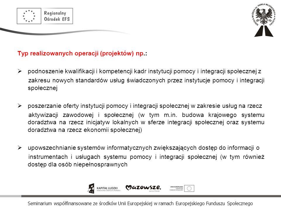 Seminarium współfinansowane ze środków Unii Europejskiej w ramach Europejskiego Funduszu Społecznego Typ realizowanych operacji (projektów) np.: podno