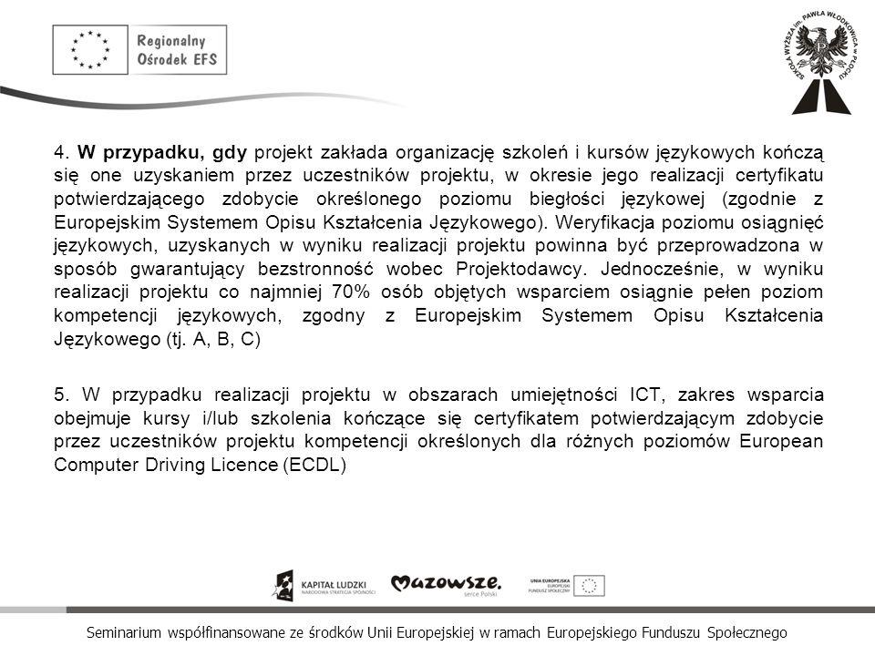 Seminarium współfinansowane ze środków Unii Europejskiej w ramach Europejskiego Funduszu Społecznego 4. W przypadku, gdy projekt zakłada organizację s