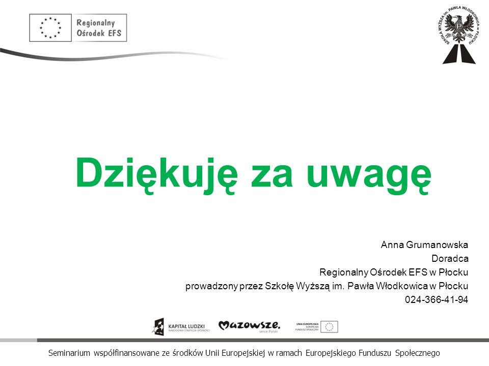 Seminarium współfinansowane ze środków Unii Europejskiej w ramach Europejskiego Funduszu Społecznego Dziękuję za uwagę Anna Grumanowska Doradca Region