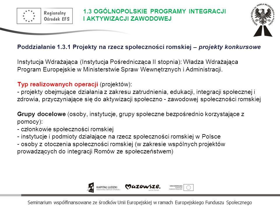 Seminarium współfinansowane ze środków Unii Europejskiej w ramach Europejskiego Funduszu Społecznego Poddziałanie 1.3.1 Projekty na rzecz społeczności